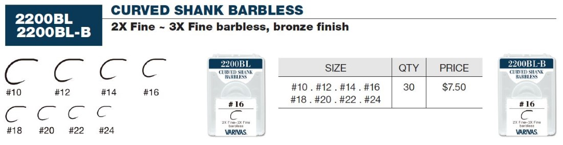 Varivas Curved Shank Barbless (Bronze) Sizes 24-10