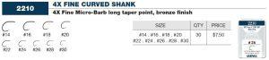 Varivas 4X Fine Curved Shank (Bronze) Sizes 30-14