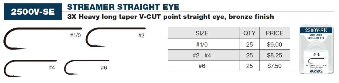Varivas Streamer Straight Eye (Bronze) Sizes 06-1/0