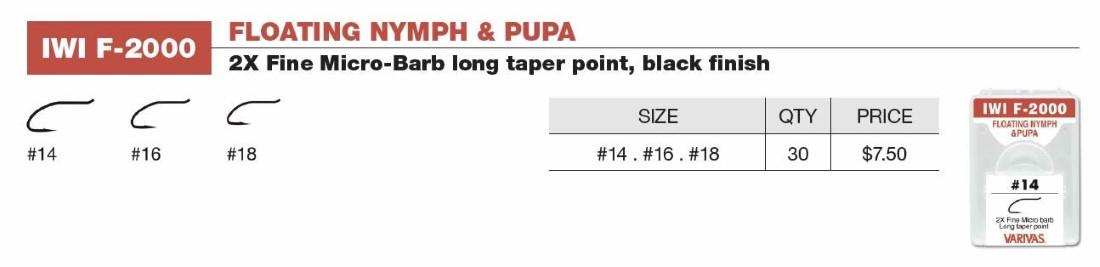 Varivas Floating Nymph & Pupa (Black) Sizes 18-14